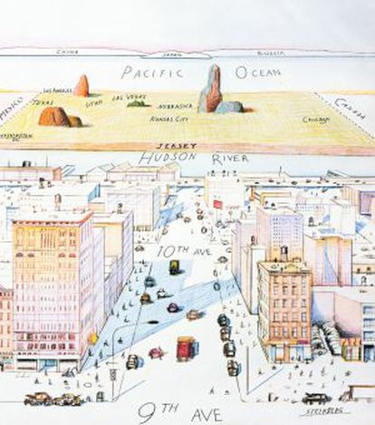 'A New Yorker's View of the World', de Saul Steinberg.