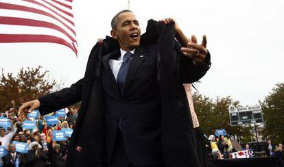 El presidente Obama hace campaña en Cleveland (Ohio) este viernes.