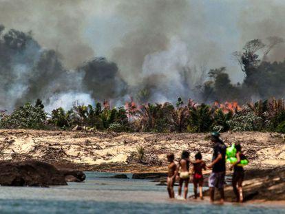 Quema de terrenos en el río Xingú (Brasil) para levantar la presa Belo Monte.