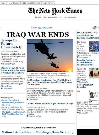 Organizaciones progresistas lanzan una edición falsa del famoso diario estadounidense con noticias utópicas como el fin de la guerra de Irak