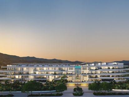 La arquitectura biofílica que promueve Pininfarina inspira el entorno natural de este edificio que se integra en el paisaje y cuenta con zonas verdes abiertas al público general.