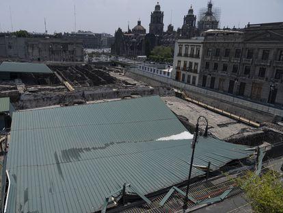 El techo colapsado de la Casa de las Águilas, en el Templo Mayor.