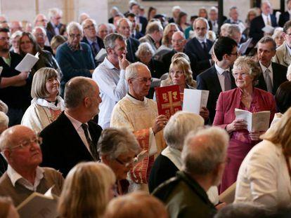 El arzobispo de Canterbury, Justin Welby, en un servicio que conmemora la ordenación de mujeres, en 2014.