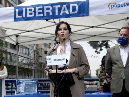 Isabel Díaz Ayuso, en un acto de su campaña electoral en la Comunidad de Madrid.