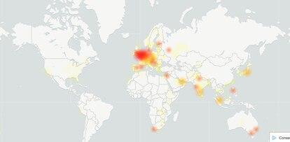 Incidencia mundial de los fallos de los servicios de Google, según DownDetector