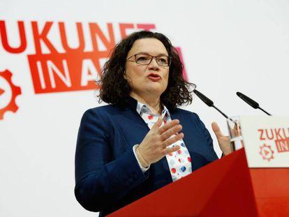 Andrea Nahles, líder del SPD, en la sede del partido en Berlín.