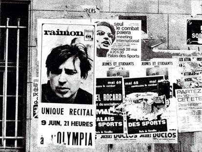 Un cartel en las calles de París anuncia la actuación de Raimon en el Olympia en el año 1969.