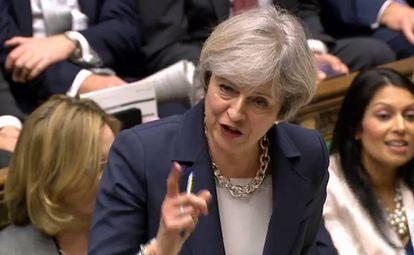 Theresa May en la Cámara de los Comunes el 15 de marzo.
