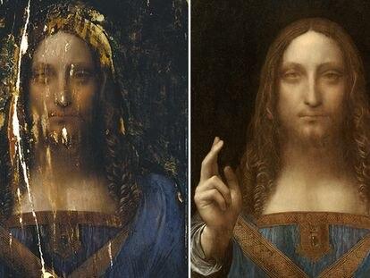 El 'Salvator Mundi' antes de la restauración de 2006 y después de ella.