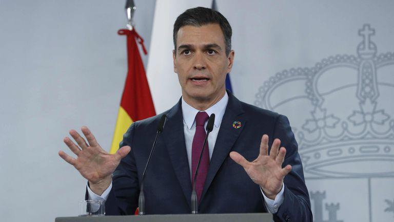 El presidente del Gobierno, Pedro Sánchez, durante una rueda de prensa en el Palacio de La Moncloa.