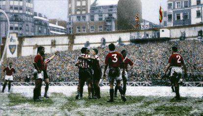 San Mamés, foto coloreada del Athletic-Manchestrer de 1957.