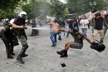Protestas en las calles de Atenas el pasado 15 de junio contra el plan de ajuste.