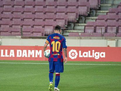 Leo MessI, durante un partido con el Barça.