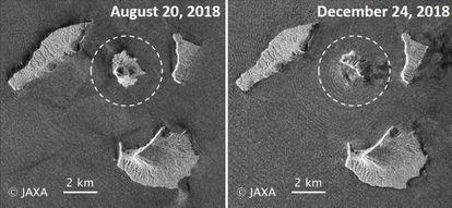 Combo de imágenes cedido por la Agencia Aeroespacial de Japón (JAXA) que muestra el volcán Anak Krakatau antes y después del tsunami.