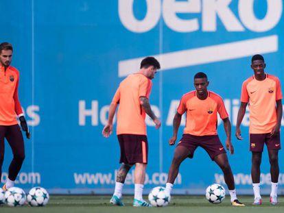 Messi, en el entrenamiento del Barça.