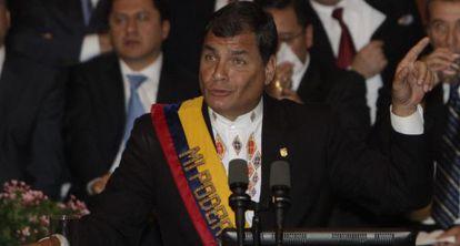 Rafael Correa, presidente de Ecuador, durante su informe de gobierno