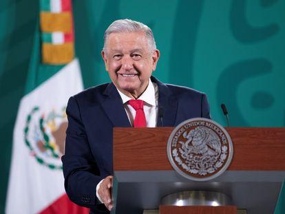 El presidente Andrés Manuel López Obrador durante una rueda de prensa este lunes.