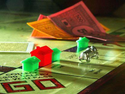 Detalle del tablero de la versión inglesa del Monopoly.