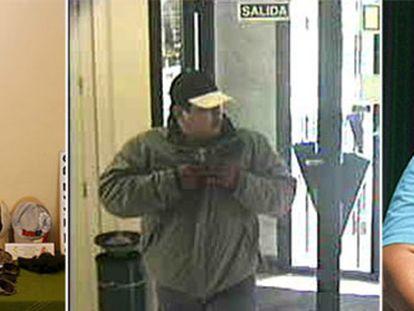 De izquierda a derecha, una de las caretas que utilizaba la banda de atracadores; Giovanni, durante uno de los robos; el delincuente, detenido.