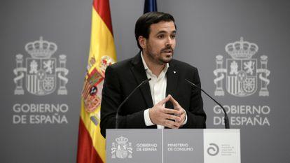 El ministro de Consumo, Alberto Garzón, en la presentación de un informe el pasado 31 de mayo.