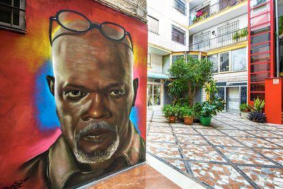 Mural del actor estadounidense Samuel L. Jackson, en Torremolinos, Málaga.