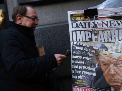 Portada del 'Daily News', este jueves en Nueva York. En vídeo, el 'impeachment' en cinco claves.