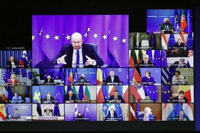 Imagen de la videoconferencia del Consejo Europeo de este jueves, tomada desde Lisboa.
