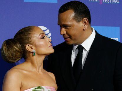Jennifer Lopez y Alex Rodriguez, en el Festival Internacional de Palm Springs, California, el 2 de enero de 2020.
