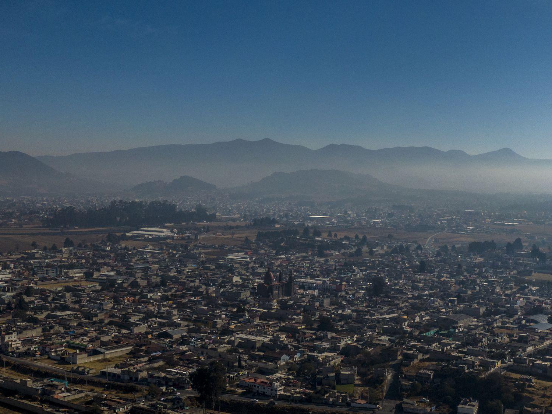 Vista aérea del pueblo de Santa Cruz Atizapán.