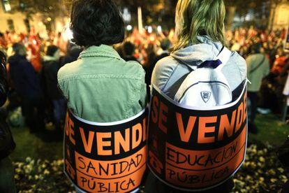 Manifestación en Madrid tras la huelga general del 14-N.