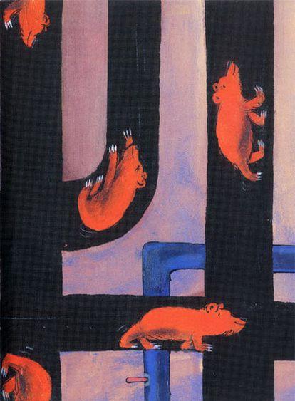 Ilustración de Emilio Urberuaga en el libro <i>Discurso del oso,</i> de Julio Cortázar.