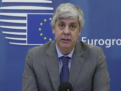 El presidente del Eurogrupo, Mario Centeno, en la rueda de prensa posterior al acuerdo alcanzado por los ministros de Finanzas este jueves.