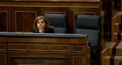 Soraya Sáenz de Santamaría este jueves en el pleno del Congreso.