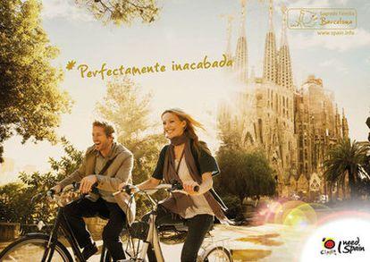 Una de las imágenes de la campaña, con la Sagrada Familia de Barcelona.