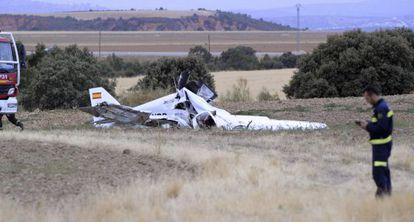 La avioneta que se ha estrellado este miércoles, en Guadalajara.