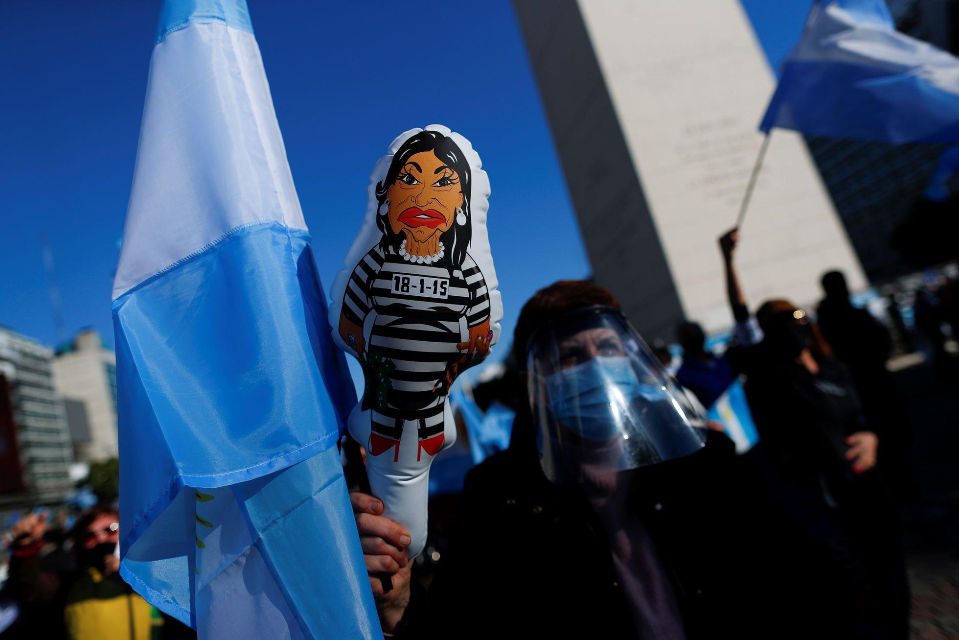 Una protesta en Buenos Aires contra la vicepresidenta de Argentina, Cristina Fernández de Kirchner, en agosto de 2020.