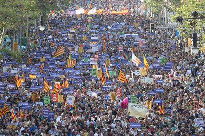 Manifestación contra los atentados yihadistas en Cataluña.