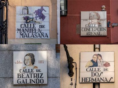 Las calles con nombre de mujer céntricas son la excepción. La mayoría se encuentran en los barrios de la periferia. En la imagen, placas del callejero madrileño.