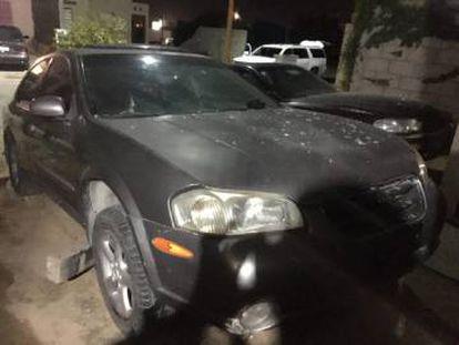 Uno de los coches de la delincuencia organizada involucrados en el enfrentamiento con la Marina.