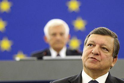 El presidente de la Comisión Europea, José Manuel Durao Barroso, durante su intervención en el debate sobre el Estado de la Unión, en el Parlamento Europeo.