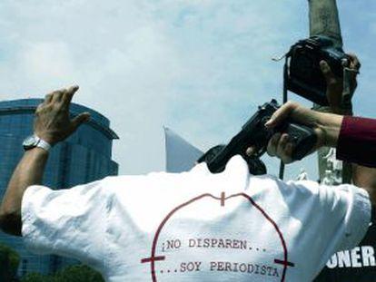 Marcha contra las agresiones a periodistas en México en 2010.