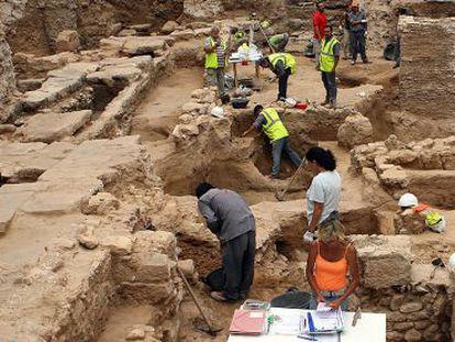 Excavación arqueológica en el centro histórico de Valencia, en una imagen de archivo.