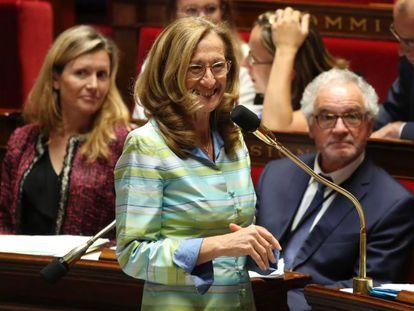 La ministra de Justicia, Nicole Belloubet, durante la votación final de la ley de moralización de la vida pública