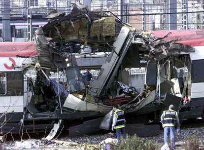 Estado en que quedó uno de los vagones atacados en la estación de Atocha el 11 de marzo.