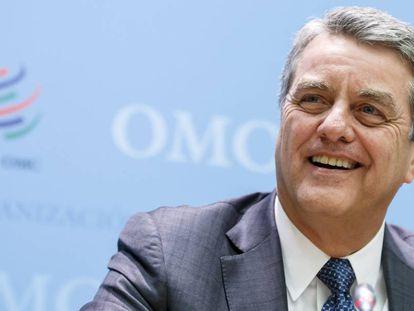 El director general de la OMC, el brasileño Roberto Azevedo, en rueda de prensa tras clausurar el Consejo General del organismo celebrado en su sede en Ginebra.