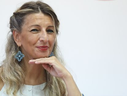 La vicepresidenta segunda del Gobierno y ministra de Trabajo y Economía Social, Yolanda Díaz, en el Real Centro Universitario María Cristina, el pasado 22 de julio.