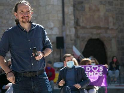 Pablo Iglesias, en el mitin celebrado este sábado en Alcalá de Henares.