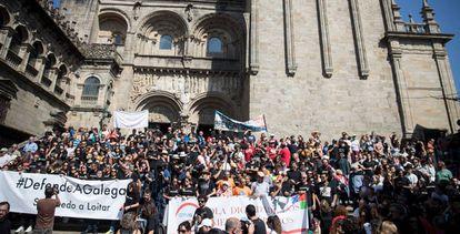 Manifestación este sábado en Santiago contra la manipulación informativa en los medios públicos gallegos.