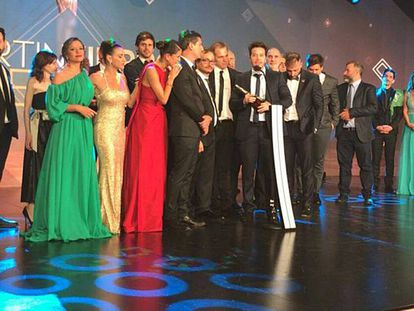 Algunas de las actrices vestidas de verde en la gala de los Martín Fierro.