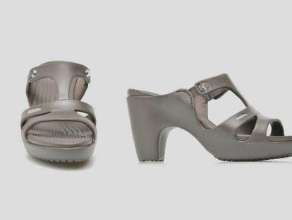 Reinvención del zueco de Crocs en unas sandalias de goma de tacón para mujer.